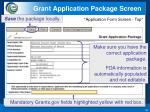 grant application package screen