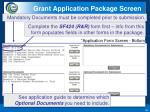 grant application package screen1