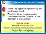 status esub errors warnings1
