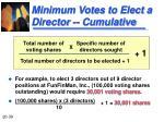 minimum votes to elect a director cumulative