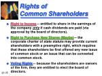 rights of common shareholders