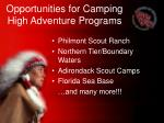 opportunities for camping high adventure programs