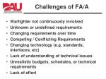 challenges of fa a