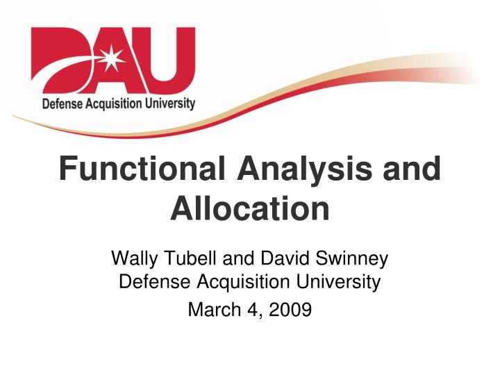 functional analysis and allocation n.