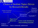 choice of institute topics driven by research results
