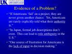 evidence of a problem