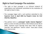 right to food campaign the evolution