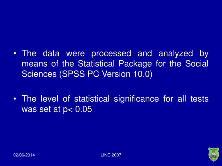 The data were processed and analyzed by means of the Statistical Package for the Social Sciences (SPSS PC Version 10.0)