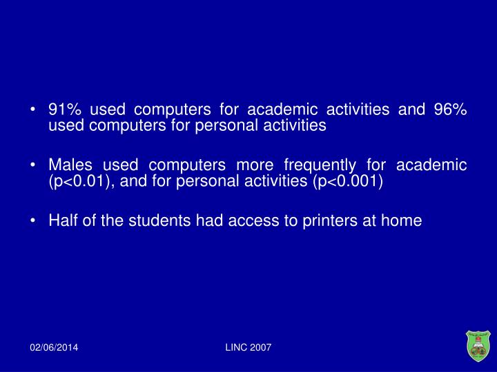 91% used computers for academic activities and 96% used computers for personal activities