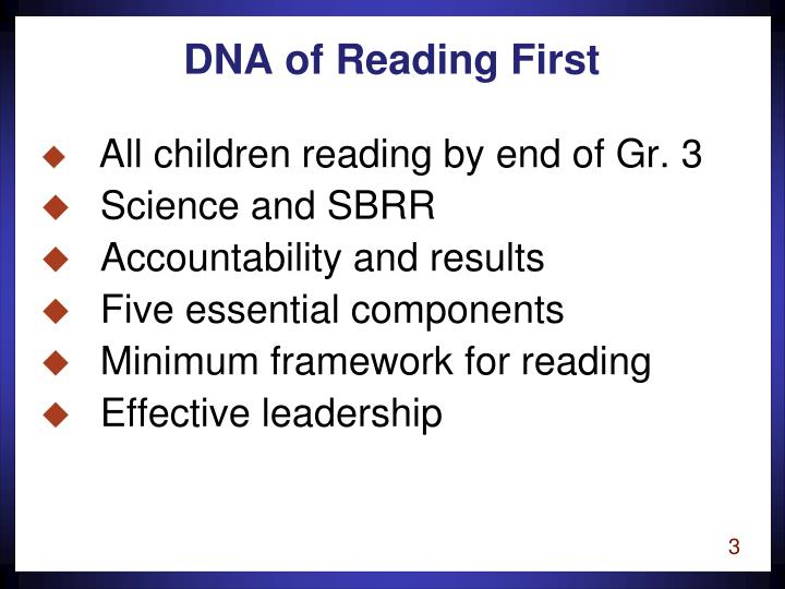 Dna of reading first