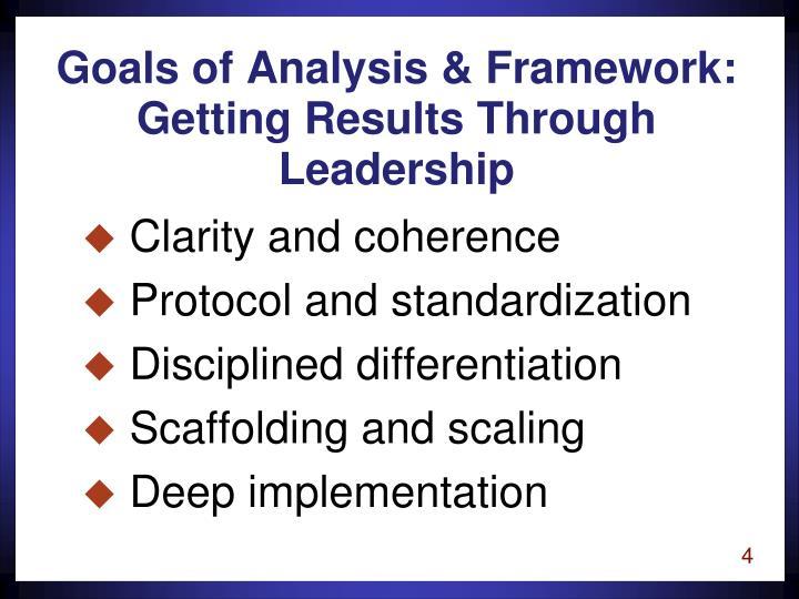 Goals of Analysis & Framework: