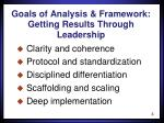 goals of analysis framework getting results through leadership