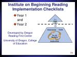 institute on beginning reading implementation checklists