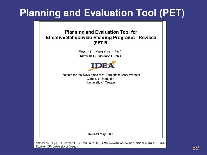 Planning and Evaluation Tool (PET)