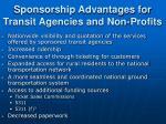 sponsorship advantages for transit agencies and non profits