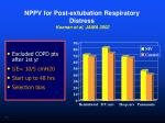 nppv for post extubation respiratory distress keenan et al jama 2002