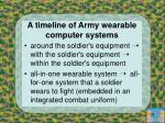 a timeline of army wearable computer systems