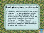 developing system requirements