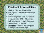 feedback from soldiers