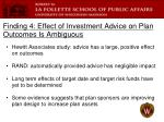 finding 4 effect of investment advice on plan outcomes is ambiguous