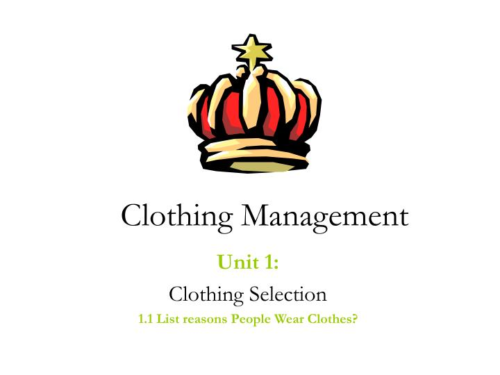 clothing management n.