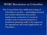 wfrc resolution on urbansim