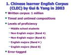 1 chinese learner english corpus clec by gui yang in 2003