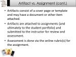 artifact vs assignment cont