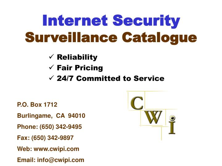 internet security surveillance catalogue n.