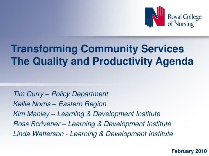 transforming community services the quality and productivity agenda n.