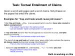 task textual entailment of claims