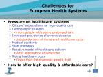 challenges for european health systems