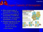oxygen capacity of hemoglobin