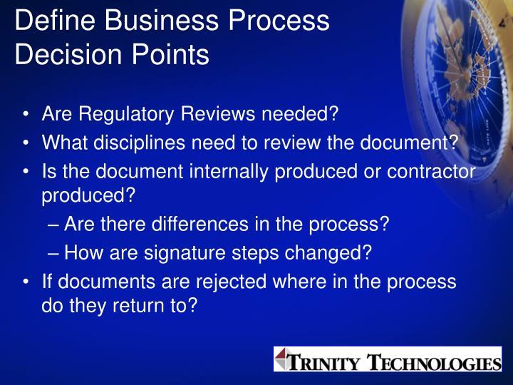 Define Business Process Decision Points