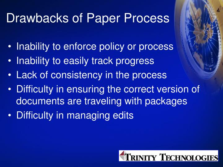 Drawbacks of Paper Process