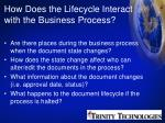 how does the lifecycle interact with the business process