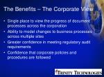 the benefits the corporate view