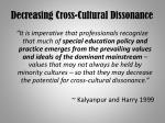 decreasing cross cultural dissonance