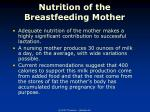 nutrition of the breastfeeding mother