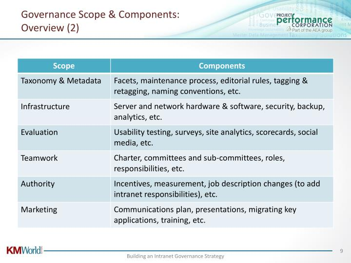 Governance Scope & Components: