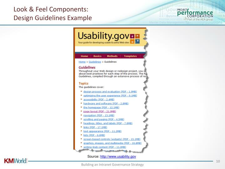 Look & Feel Components:
