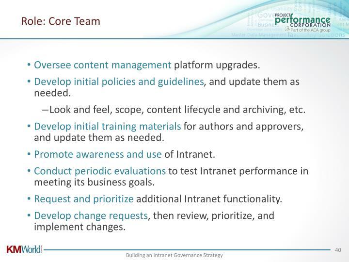 Role: Core Team
