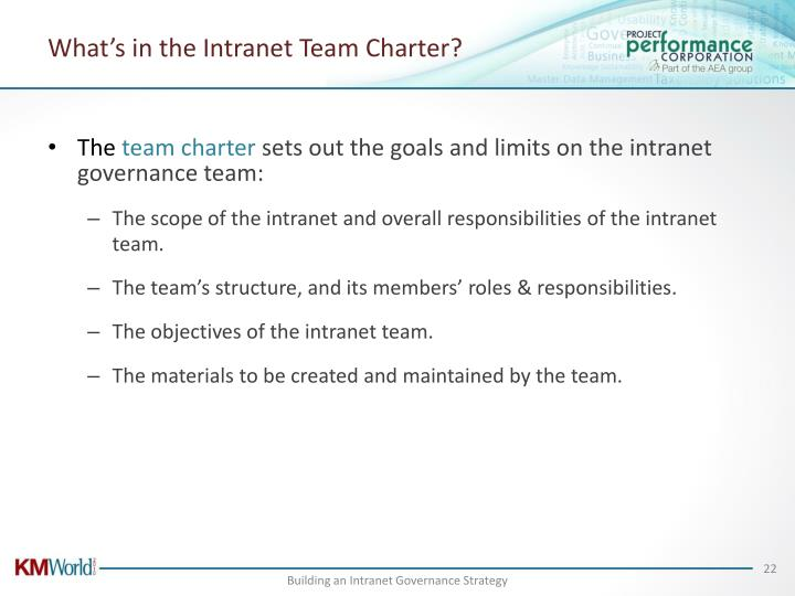 What's in the Intranet Team Charter?