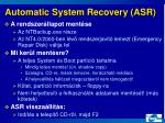 automatic system recovery asr