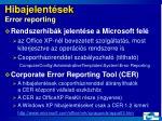 hibajelent sek error reporting