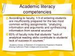academic literacy competencies