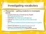 investigating vocabulary
