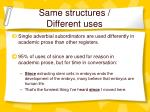 same structures different uses
