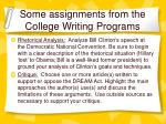 some assignments from the college writing programs