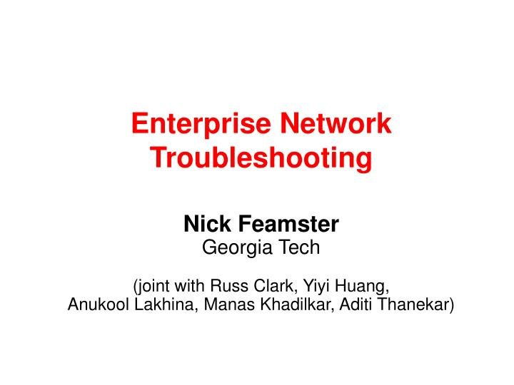 enterprise network troubleshooting n.